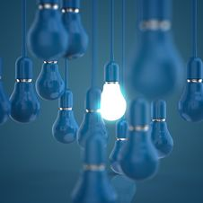 Creative Idea And Leadership Concept Light Bulb 3d Design Royalty Free Stock Image