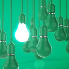 Creative Idea And Leadership Concept Light Bulb 3d Design Royalty Free Stock Photo