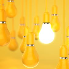 Free Creative Idea And Leadership Concept Light Bulb 3d Design Royalty Free Stock Photo - 30561705