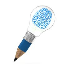 Free The Brain Idea Creative As Pencil Lightbulb Creative Royalty Free Stock Image - 30561716