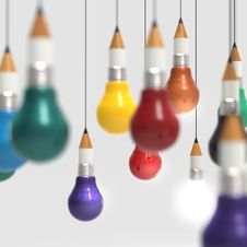 Free Drawing Idea Pencil And Light Bulb Concept Creative And Leadersh Stock Photos - 30561883