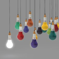 Free Drawing Idea Pencil And Light Bulb Concept Creative And Leadersh Stock Photography - 30561952