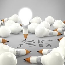 Free Drawing Idea Light Bulb Concept Creative Royalty Free Stock Photo - 30562445