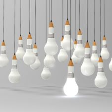 Free Drawing Idea Pencil And Light Bulb Concept Creative Royalty Free Stock Images - 30562479