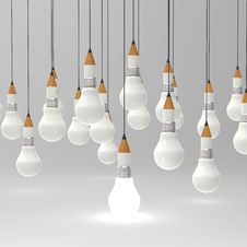 Free Drawing Idea Pencil And Light Bulb Concept Creative And Leadersh Stock Image - 30562511