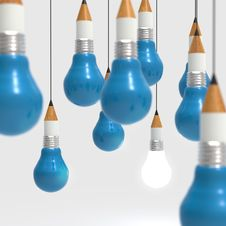 Free Drawing Idea Pencil And Light Bulb Concept Creative And Leadersh Royalty Free Stock Image - 30562566