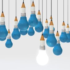 Drawing Idea Pencil And Light Bulb Concept Creative And Leadersh Royalty Free Stock Photos