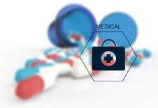 Prescription Graphic And Medical Capsules Royalty Free Stock Photo