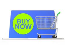 Free Buy Now On Laptop Computer With Cart Royalty Free Stock Image - 30563456