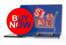 Free Buy Now On Laptop Computer With Cart Stock Photo - 30563560
