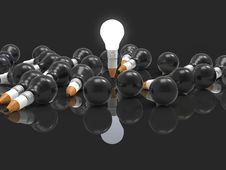 Drawing Idea Pencil And Light Bulb Concept Creative And Leadersh Stock Images