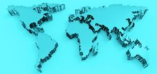 Free Social Network Human 3d On World Map Stock Images - 30564664