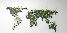 Free Social Network Human 3d On World Map Royalty Free Stock Images - 30564889