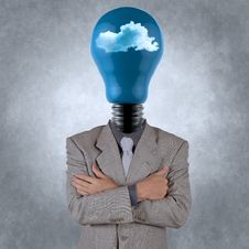 Free Businessman With Lightbulb Head In The Clouds Stock Photos - 30568273