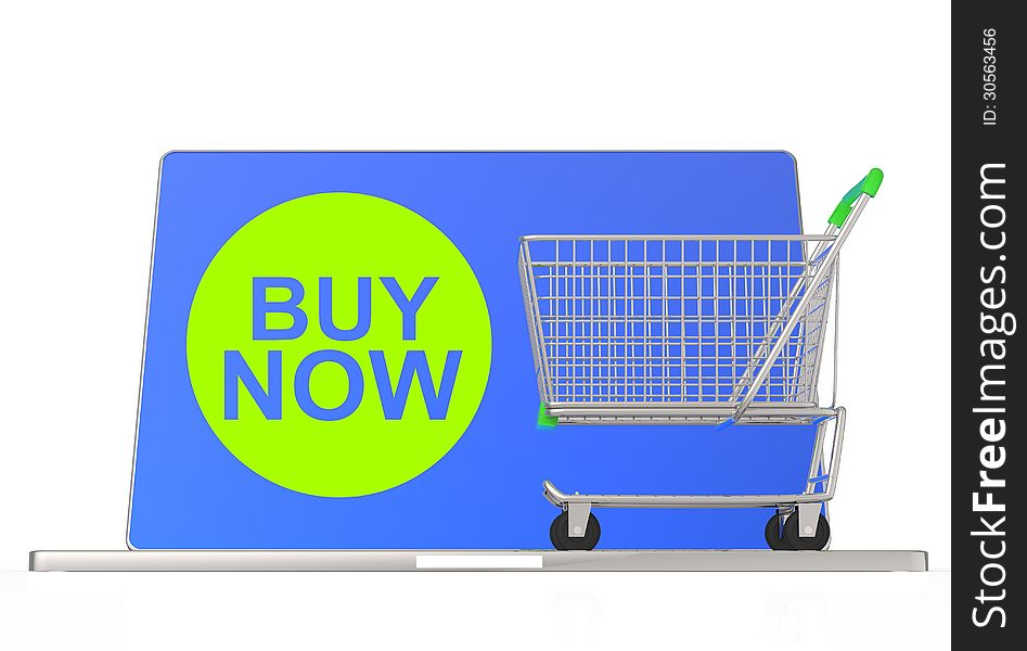 Buy now on laptop computer with cart