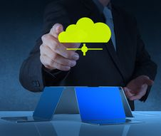 Businessman Working With A Cloud Computing Diagram Royalty Free Stock Images