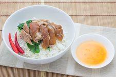 Free Braised Pork With Mei Gan Cai On Plain Rice Stock Photo - 30577920