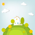 Free Stylized Landscape With A House On The Hill Royalty Free Stock Photo - 30580675