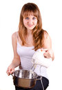 Free Girl And A Pot. Royalty Free Stock Photos - 30582588