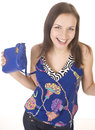 Free Portrait Of Beauty Young Woman With Hand Bag Isolated Stock Photos - 30587003