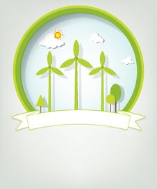Free Emblem With Green Windmills Royalty Free Stock Image - 30580676