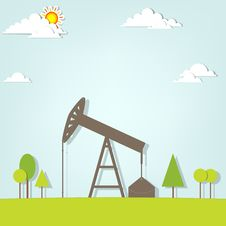 Free Landscape With Oil Pump Royalty Free Stock Images - 30580739