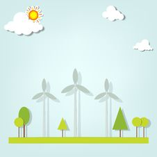 Free Landscape With Windmills Royalty Free Stock Photos - 30580778