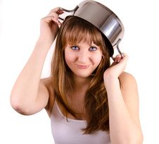 Girl And A Pot. Stock Photography
