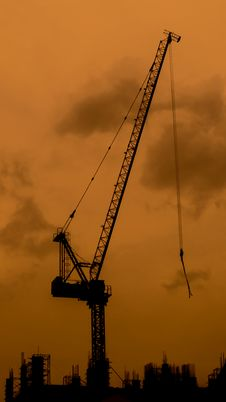 High Crane On The Top Of The Construction Stock Photo