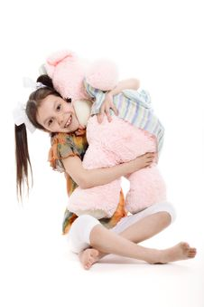 Free Little Girl And Teddy Bear Stock Photography - 30584912