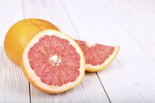 Grapefruit On A  Wooden Background. Selective Focus Royalty Free Stock Image