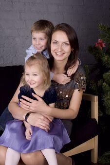 Happy Family At Christmas Tree Royalty Free Stock Image