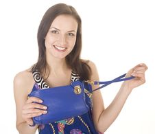 Free Portrait Of Beauty Young Woman With Hand Bag Isolated Royalty Free Stock Image - 30587006