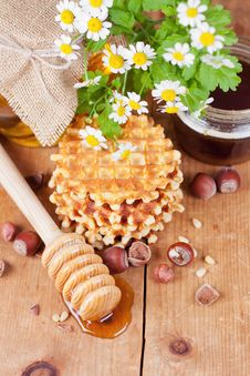 Free Waffles With Honey Royalty Free Stock Photo - 30589585