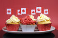 Free Red And White Cupcakes With Canadian Maple Leaf National Flags Stock Photography - 30591262