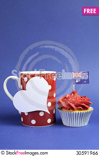 Free Australian Theme, Cupcakes With National Flag Royalty Free Stock Image - 30591966
