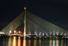 Free Rama 8 Bridge At Night Stock Photography - 30591112