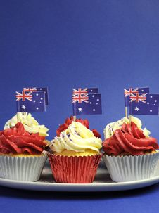 Australian Theme, Cupcakes With National Flag Royalty Free Stock Photo