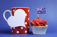 Australian Theme, Cupcakes With National Flag Stock Images