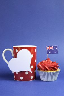 Australian Theme, Cupcakes With National Flag Royalty Free Stock Image