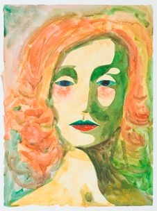 Hand Drawn Watercolor Illustration Of Melancholic  Woman Royalty Free Stock Photography