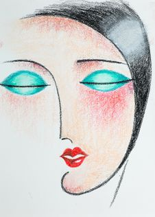 Pencil Illustration Of Woman With Closed Eyes Royalty Free Stock Photo