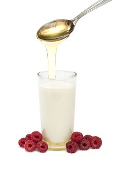 Free Milk, Raspberries, Honey - The Cure For The Common Cold Royalty Free Stock Photo - 30599995