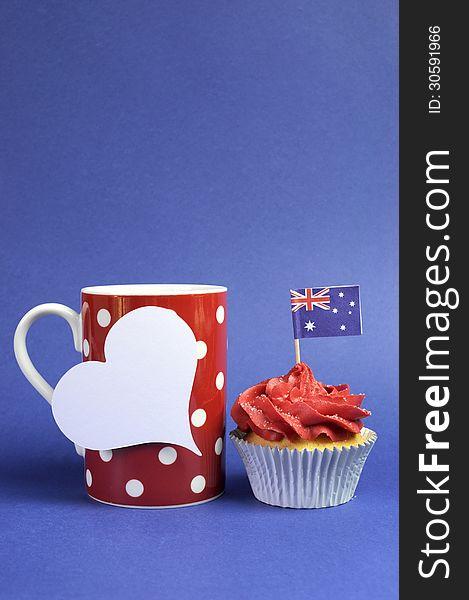 Australian theme, cupcakes with national flag