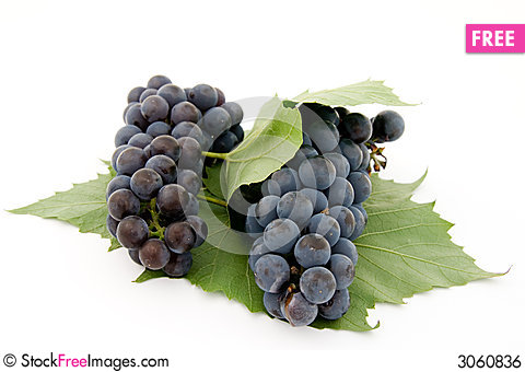 Free Dark Grape With Leaf Royalty Free Stock Image - 3060836