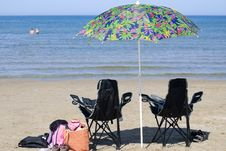 Free Chairs And Umbrella On Beach Stock Image - 3060181