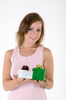 Free Girl With Gift Box Royalty Free Stock Images - 3063769