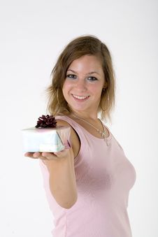 Free Girl With Gift Box Royalty Free Stock Image - 3063776