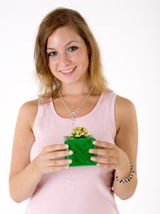 Free Girl With Gift Box Stock Photo - 3063820