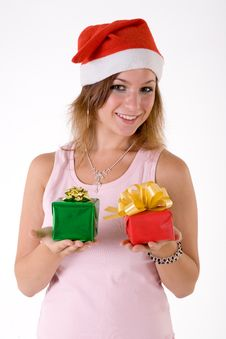 Free Girl With Gift Box Royalty Free Stock Photo - 3063855